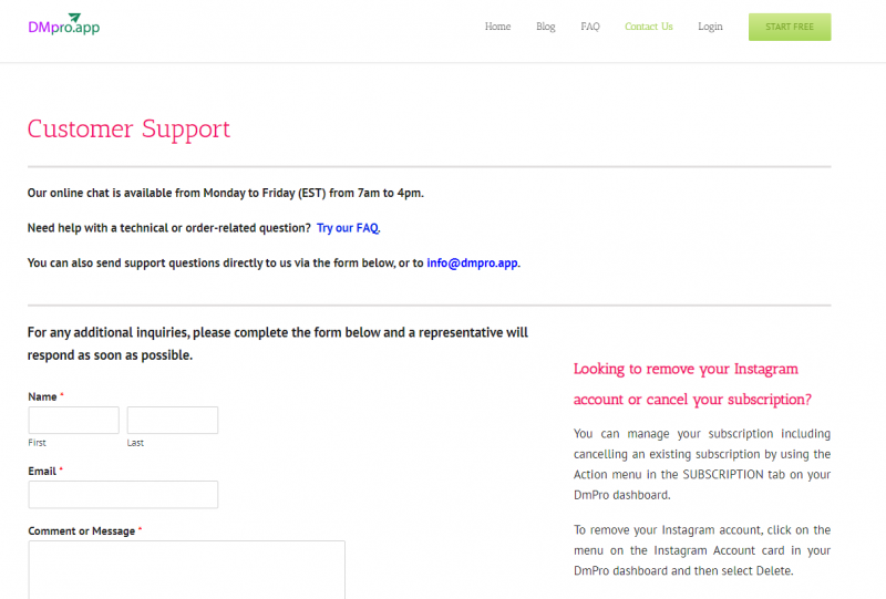 DMpro customer support